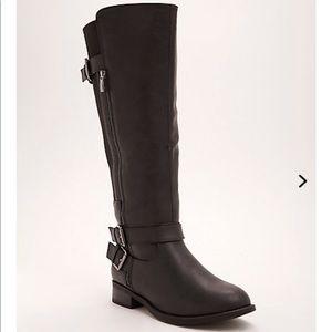 Double buckle side zip knee high boots-wide calf